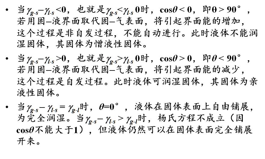 用杨氏方程判断润湿现象