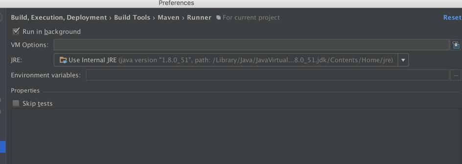 IDEA中Maven runner的配置