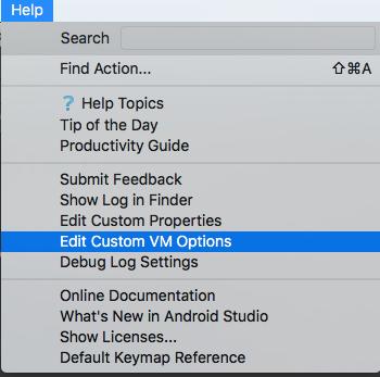 help -> edit custom vm options
