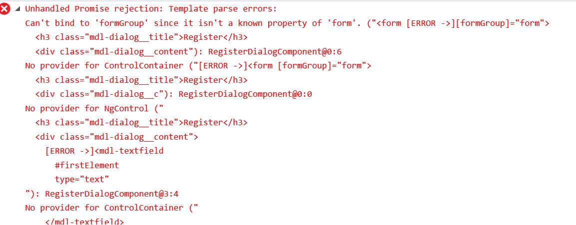 未引入ReactiveForms引起的报错