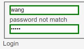 用户密码不匹配时提示