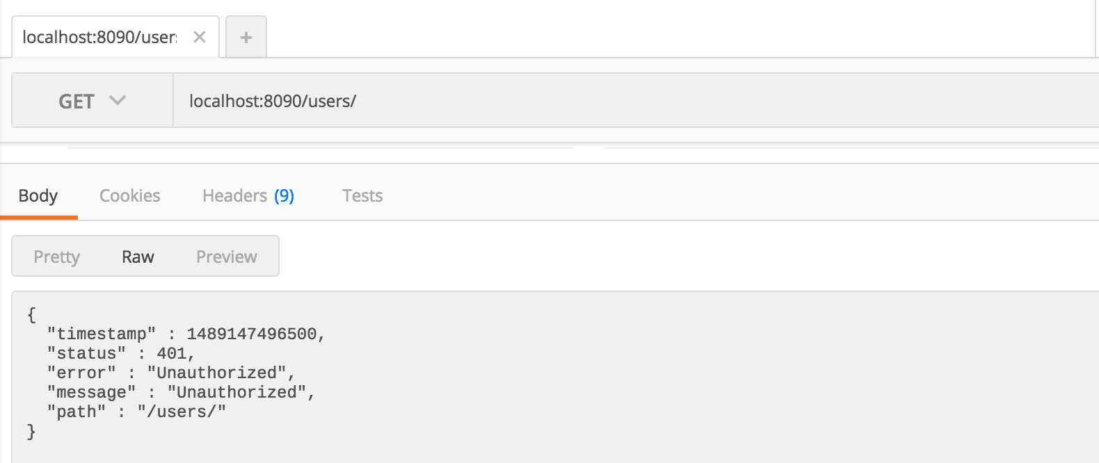 不使用token访问users列表