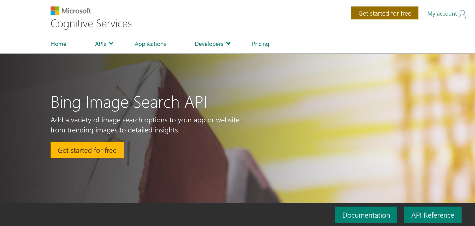 申请Bing Image API