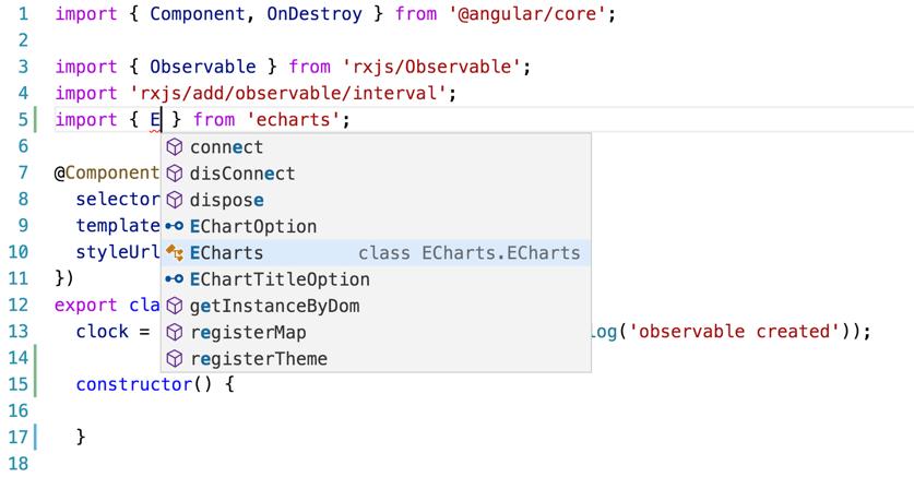 引入echarts看到智能提示
