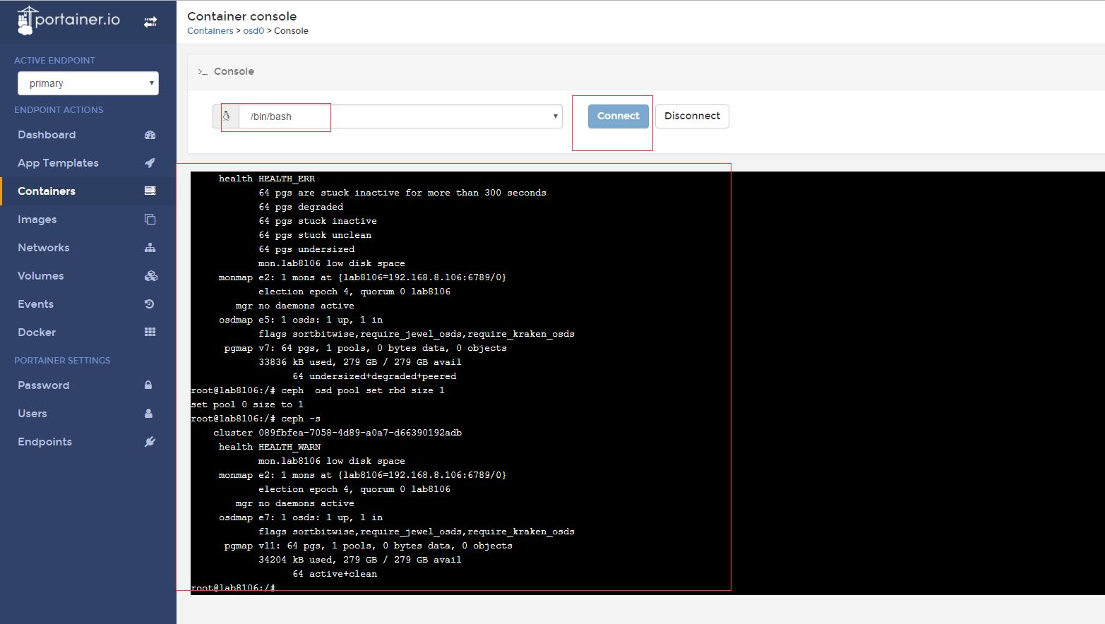 基于Docker UI 配置Ceph集群
